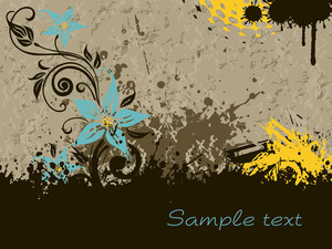 Grunge Background With Floral Design
