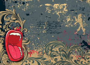 Grunge Background With Screaming Mouth Vector Illustration