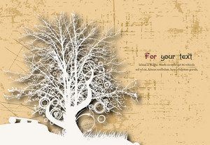 Grunge Background With Tree Vector Illustration