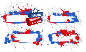 Grunge Banner Set Patriotic Usa Theme Vector