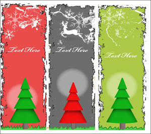 Grunge Christmas Tree Banners