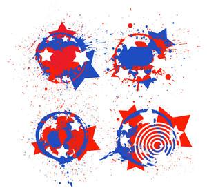Grunge Circular Design Set Patriotic Usa Theme Vector