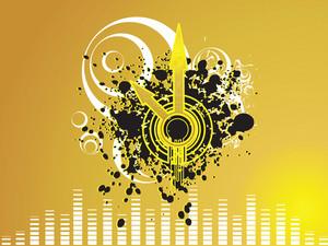 Grunge Clock Needle On Yellow Background
