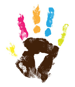 Grunge Colorful Hand Print
