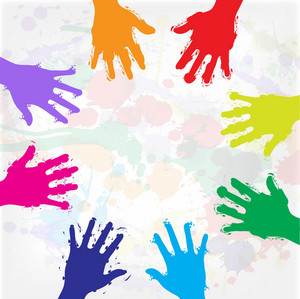 Grunge Colorful Hands Vector Illustration