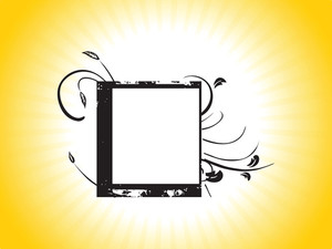 Grunge Design Black Flourish Frame In Yellow