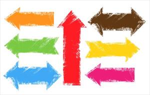 Grunge Edges Colorful Banner Arrow Vectors