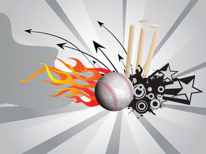 Grunge Fire Background With Cricket Ball And Stump