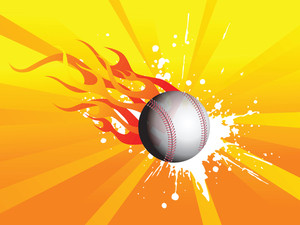 Grunge Fire Background With Cricket Ball