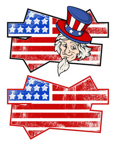Grunge Flag & Uncle Sam Patriotic Usa Theme Vector