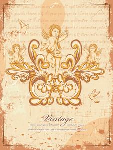 Grunge Floral Background With Angels Vector Illustration