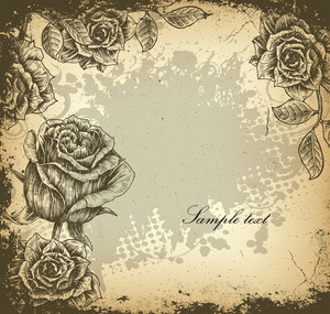 Grunge Floral Background With Roses Vector Illustration