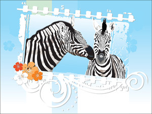 Grunge Floral Frame With Zebra Couple