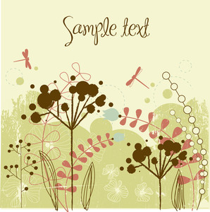 Grunge Flower Background  With Place For Your Text