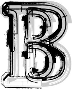 Grunge Font. Letter B