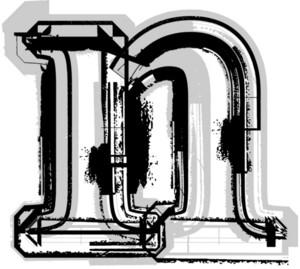Grunge Font. Letter N