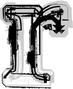 Grunge Font. Letter R