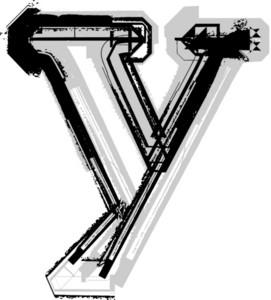 Grunge Font. Letter Y