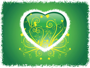 Grunge Frame Heart With Green Background