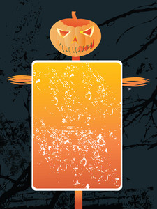 Grunge Frame On Scary Halloween Background