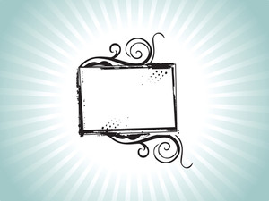 Grunge Frame With Swirl Elements In Green