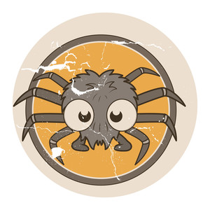 Grunge Funny Spider - Halloween Vector Illustration