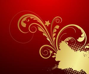 Grunge Golden Floral Halftone Banner