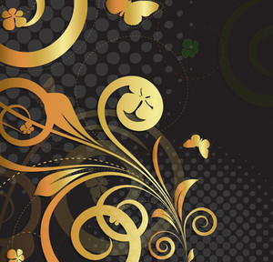 Grunge Golden Flourish Background