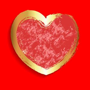 Grunge Golden Texture Heart Banner