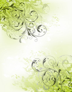 Grunge Green Floral Background Vector Illustration