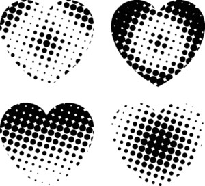 Grunge Halftone Hearts