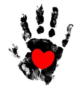 Grunge Hand Heart Design