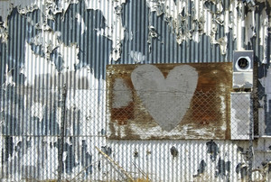 Grunge Heart Wall Background