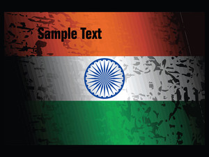Grunge Indian Flag Isolated On Black