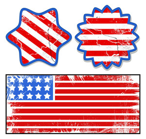Grunge Labels Patriotic Usa Theme Vector