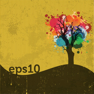 Grunge Retro Colorful Autumn Tree Illustration
