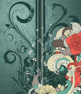 Grunge Retro Floral Background Vector Illustration