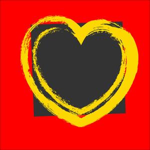 Grunge Stroke Heart Banner Vector