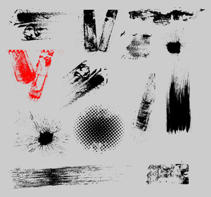 Grunge Strokes And Overlay Vector Set