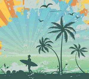 Grunge Summer Background Vector Illustration