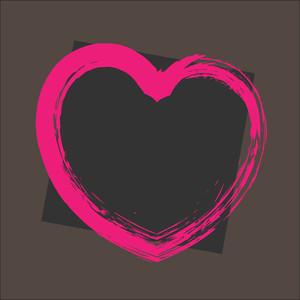 Grunge Valentine Heart Banner Vector