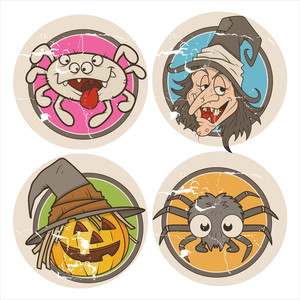 Grunge Vector Halloween Stickers