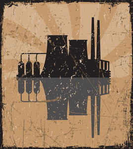 Grunge Vector Illustration Of Factory.