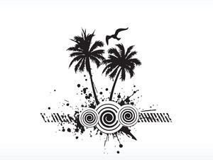 Grunge Vector Palm Tree Series On White