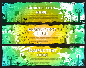 Grunge Vector Spring Web Banners