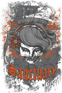 Grunge Vector T-shirt Design With Dead Woman