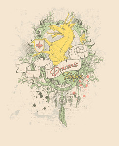 Grunge Vector T-shirt Design With Dragon