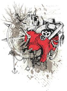Grunge Vector T-shirt Design With Steampunk Heart