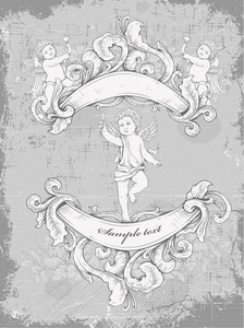 Grunge Vintage Background With Angel Vector Illustration
