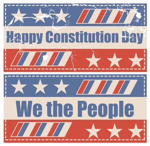 Grunge Vintage Constitution Day Vector Illustration